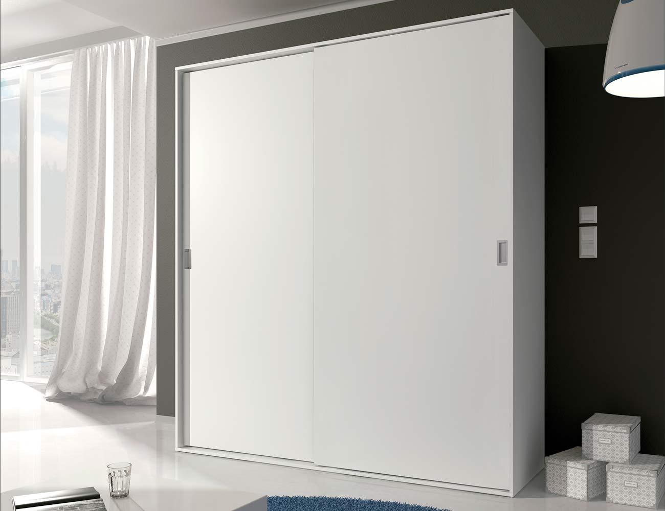 Dormitorio de matrimonio moderno cabecero con luces leds - Armario dormitorio blanco ...