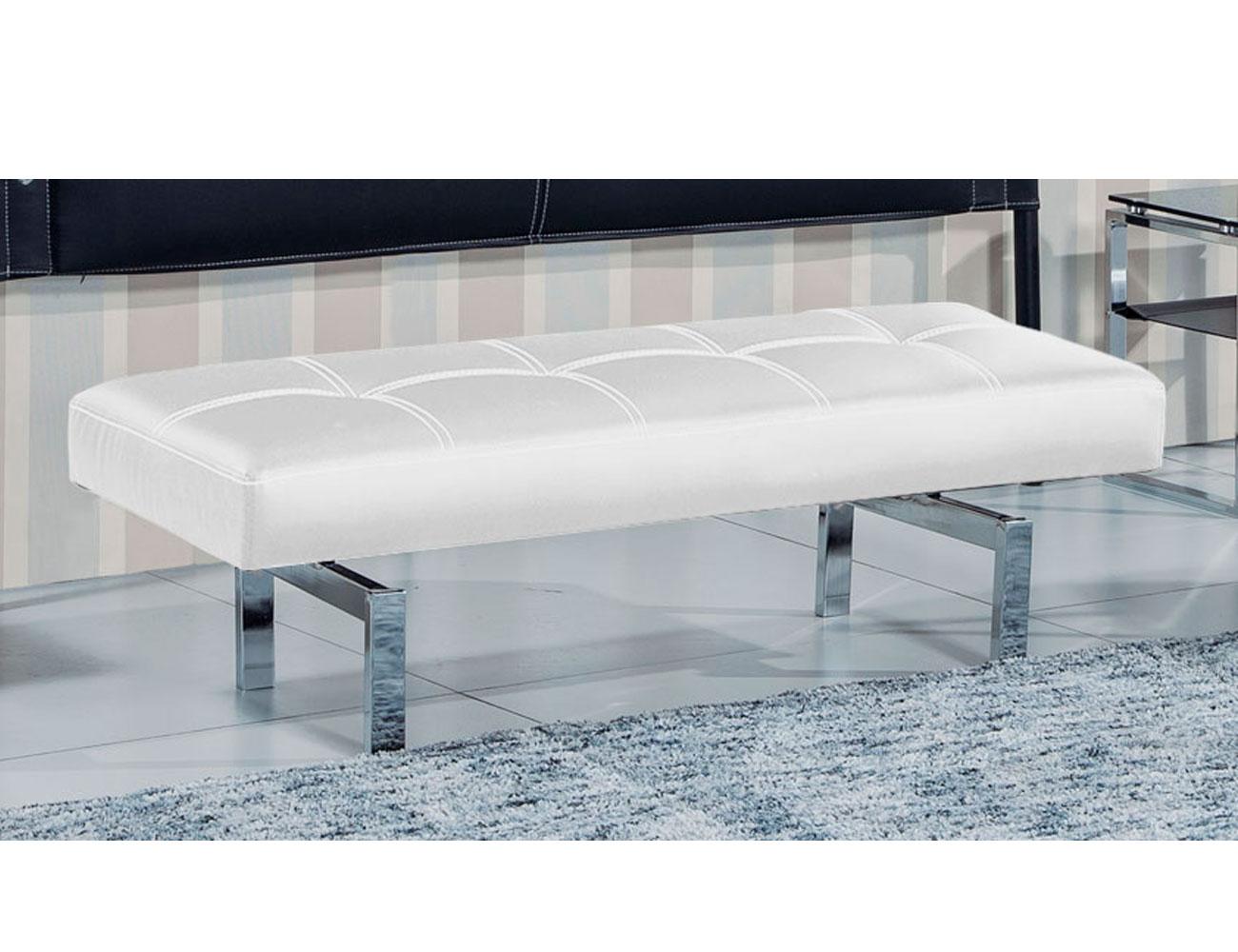 Banco banqueta tapizado polipiel blanco