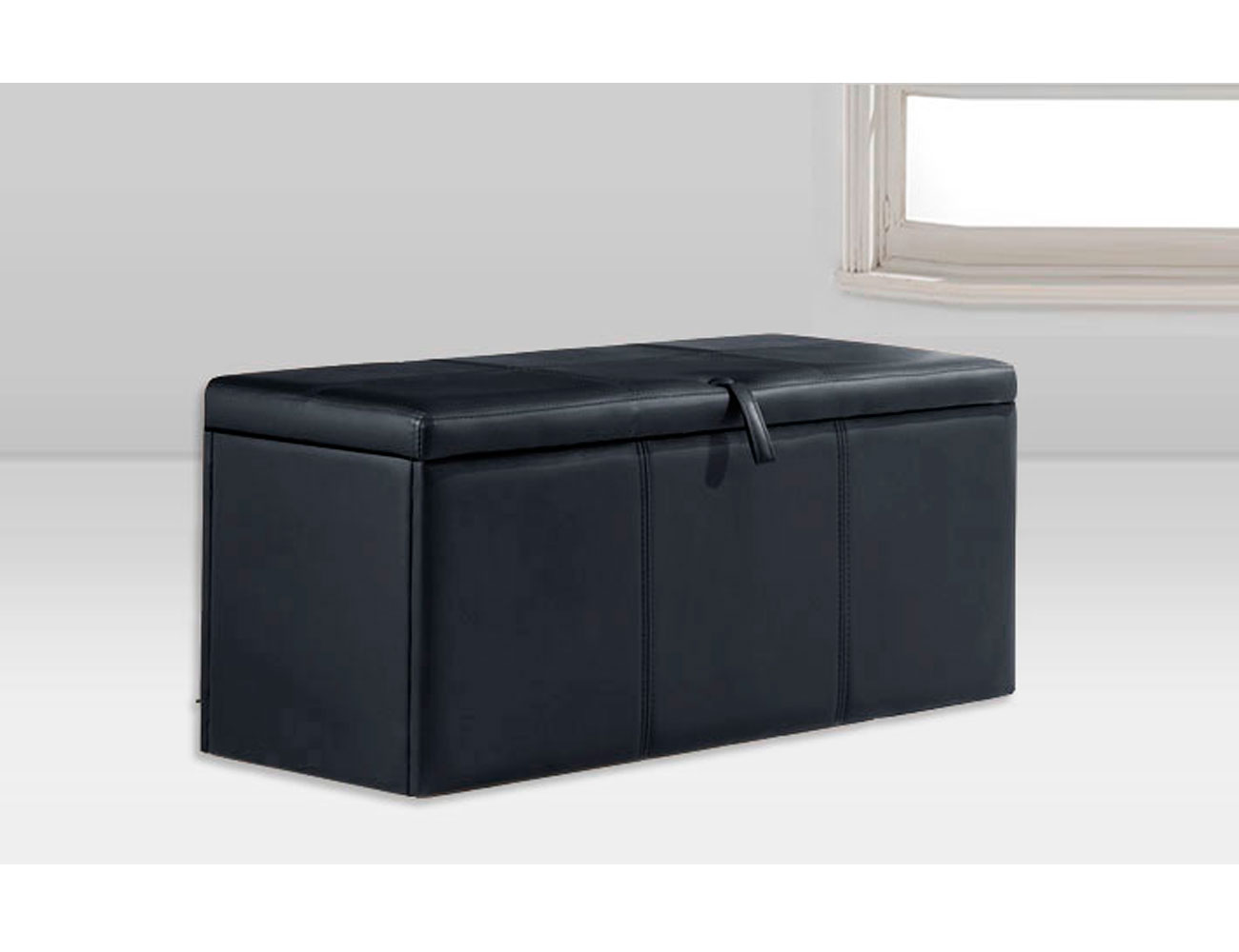Baul tapizado polipiel negro