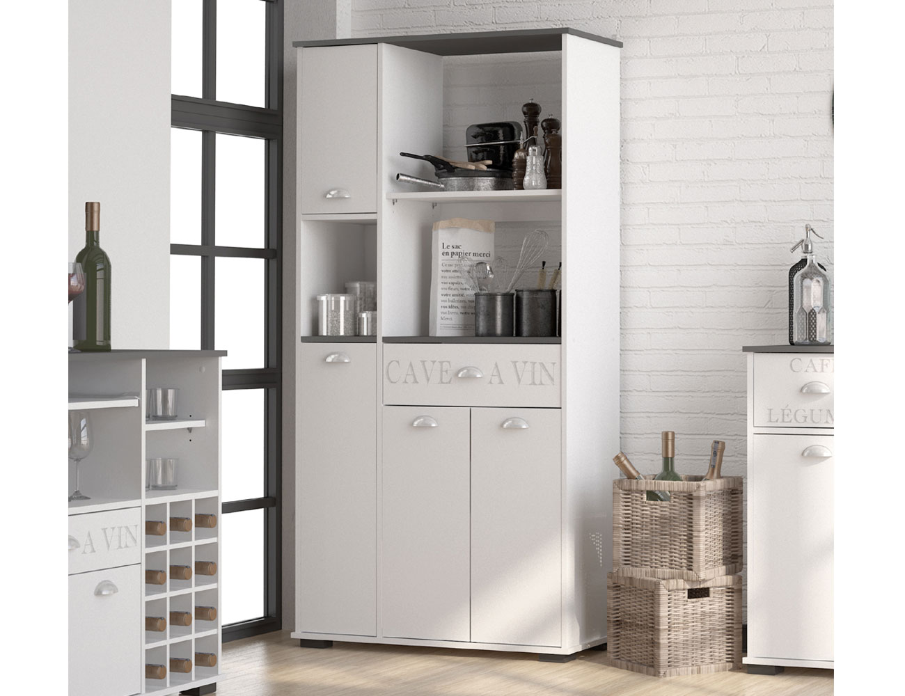 Mueble buffet de cocina con cuatro puertas y un cajón (3423 ...