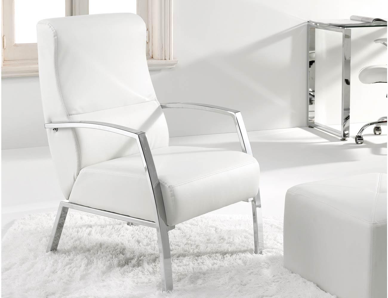 Butaca sillon espera simil piel blanco