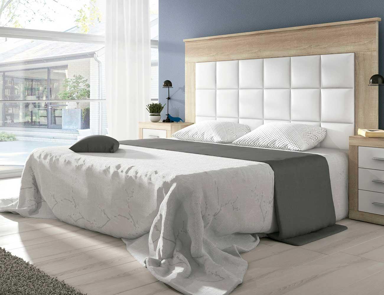 Cabecero dormitorio matrimonio moderno patas plafon pu cambrian blanco