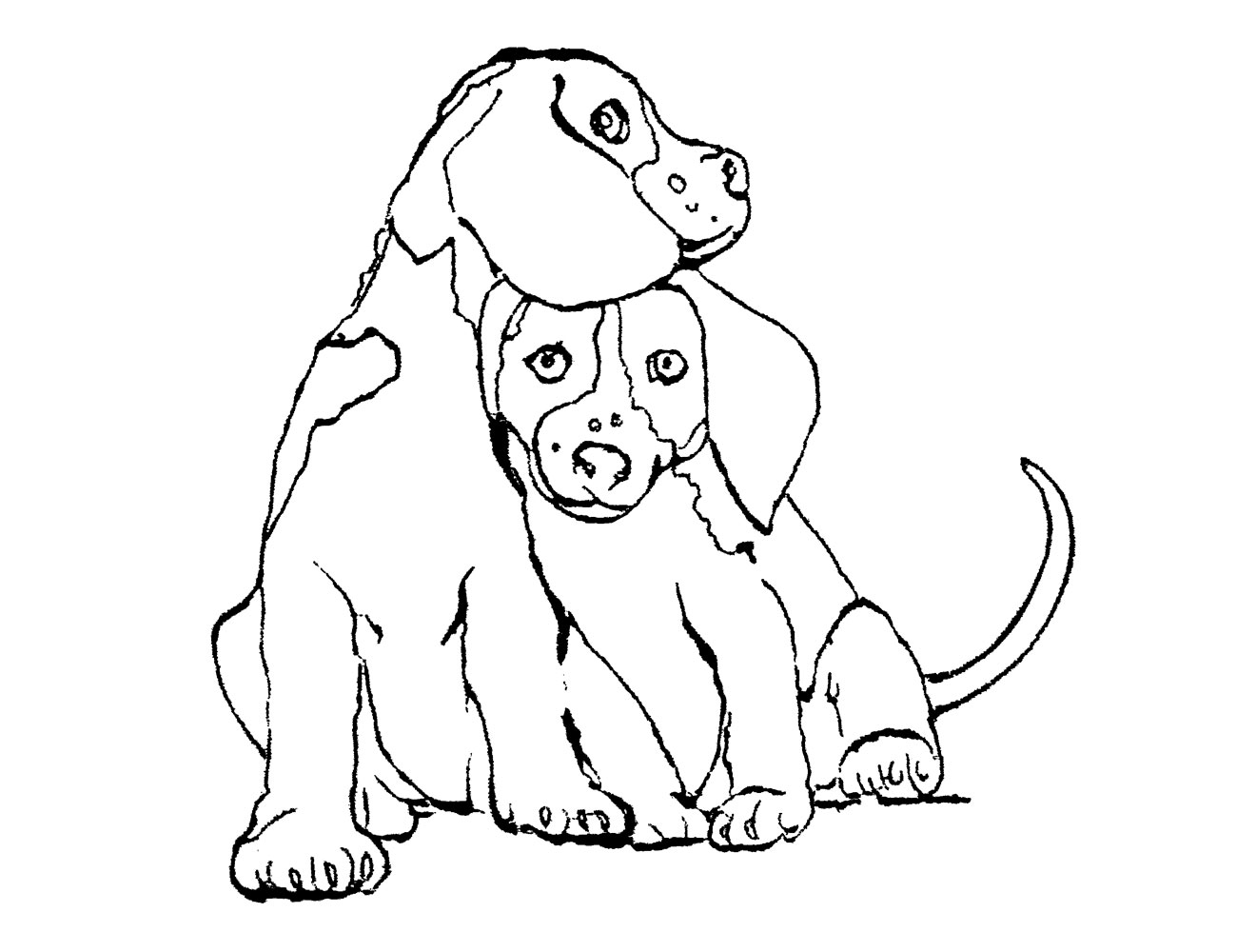 Cabecero infantil perros bordado