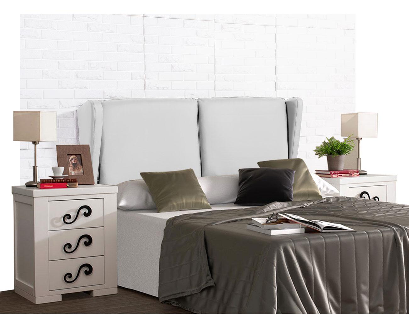 Cabecero tapizado plafones blanco