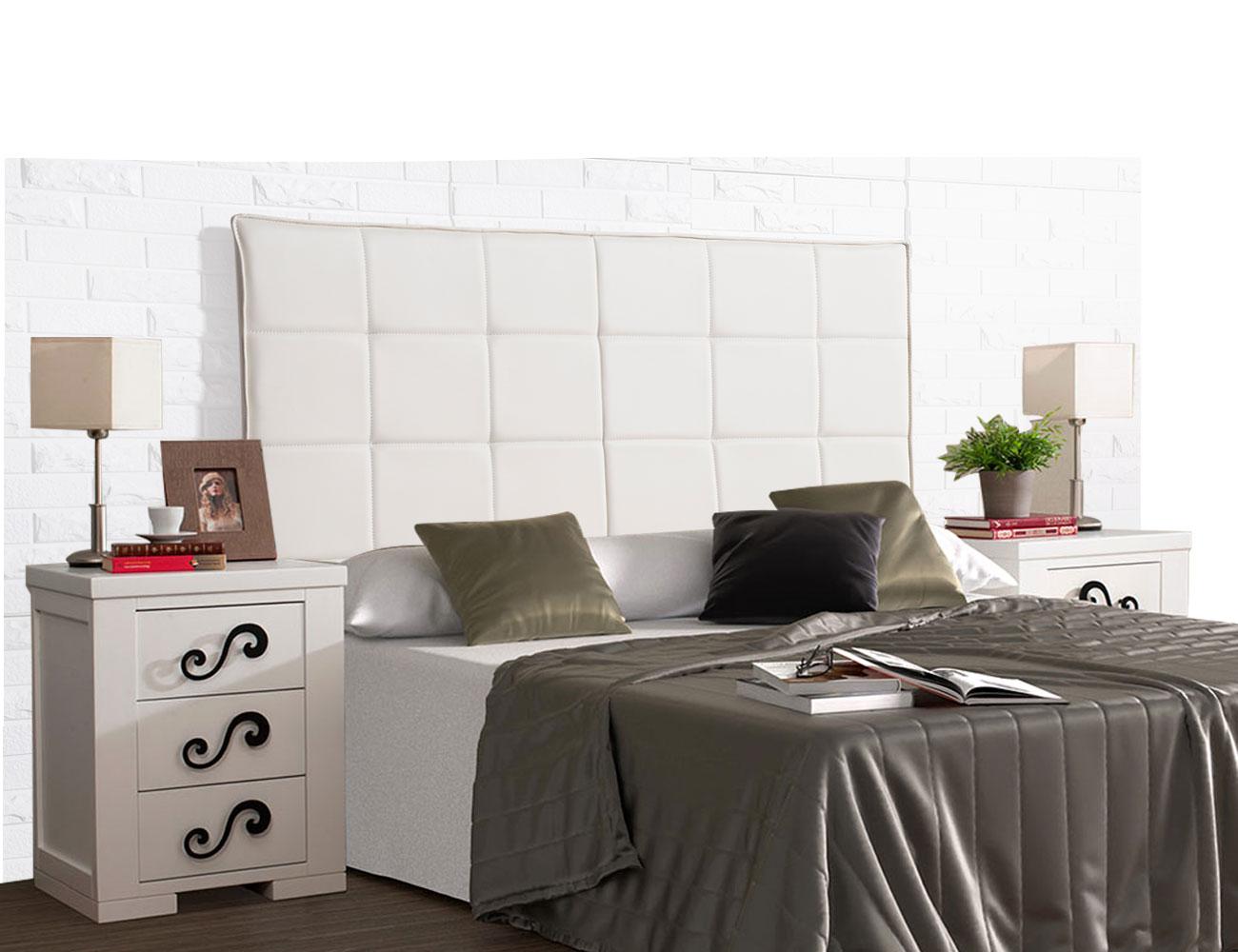 Cabecero tapizado polipiel cuadros blanco