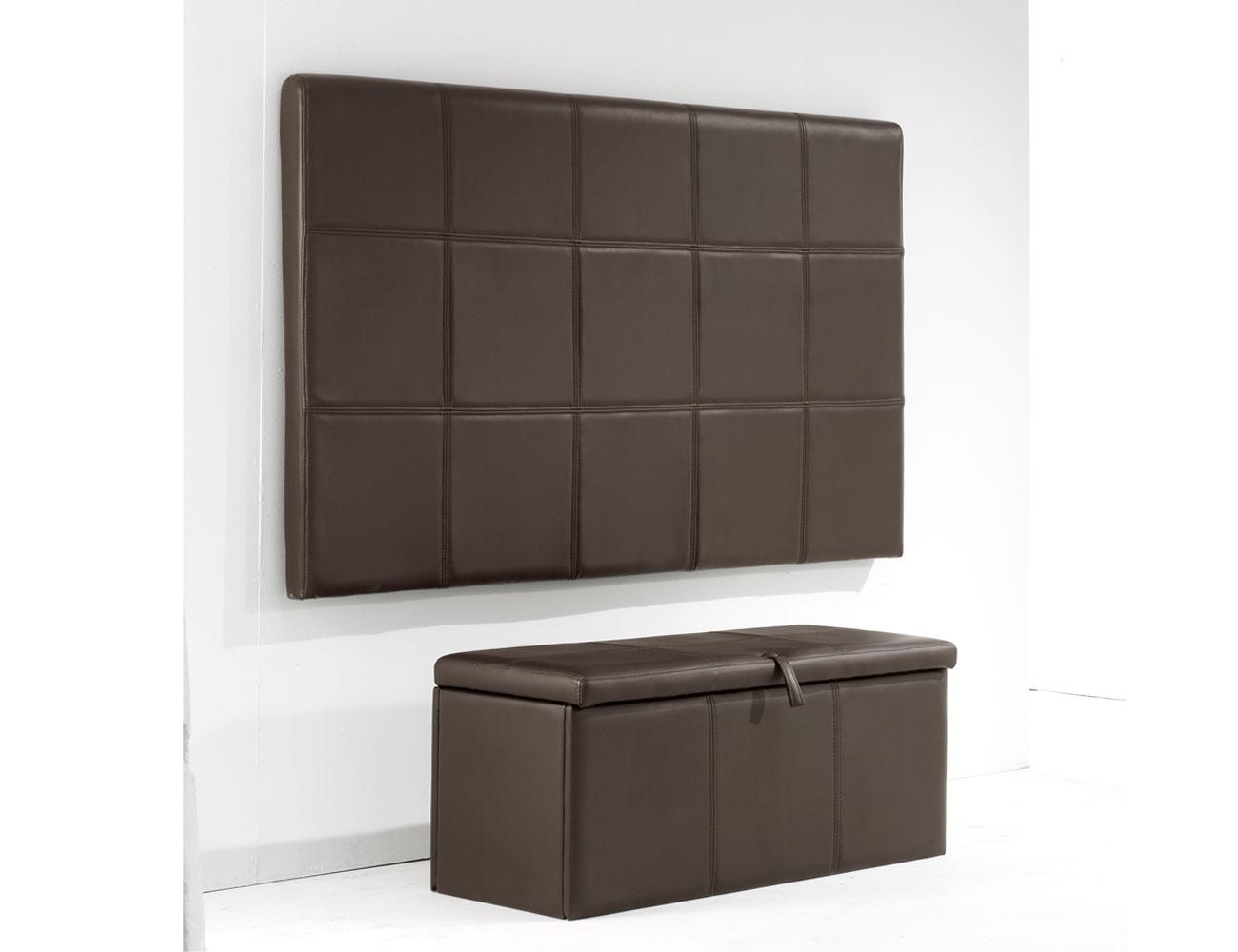 Cabecero tapizado polipiel cuadros chocolate 2