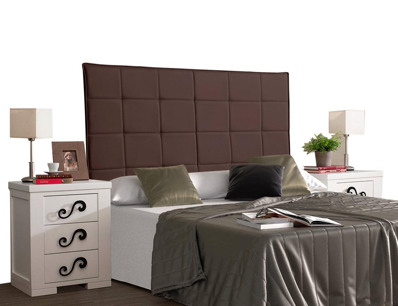 Cabecero tapizado polipiel cuadros chocolate
