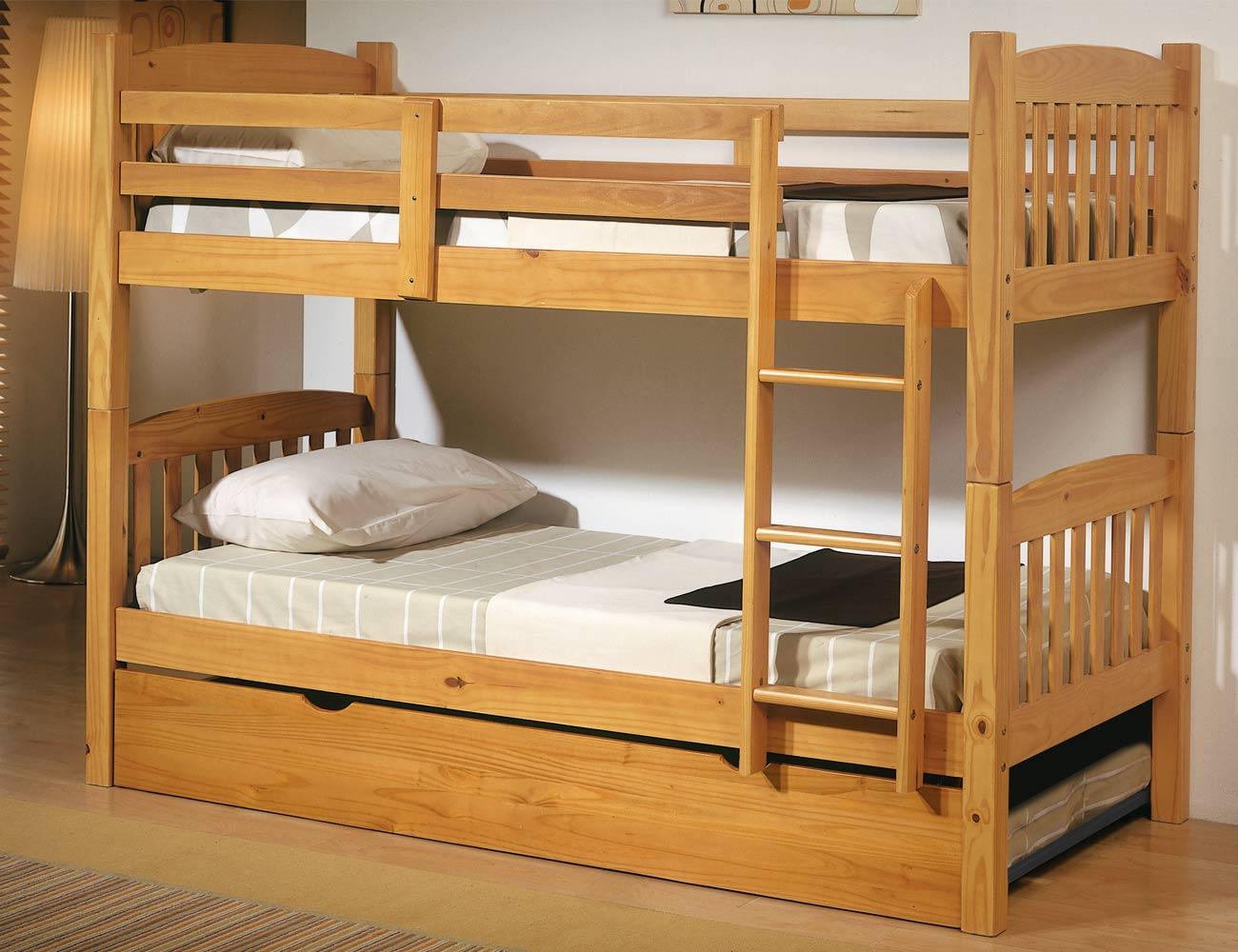 Cama litera dormitorio juvenil en madera color miel con somieres de lamas 8087 factory del - Somieres cama nido ...