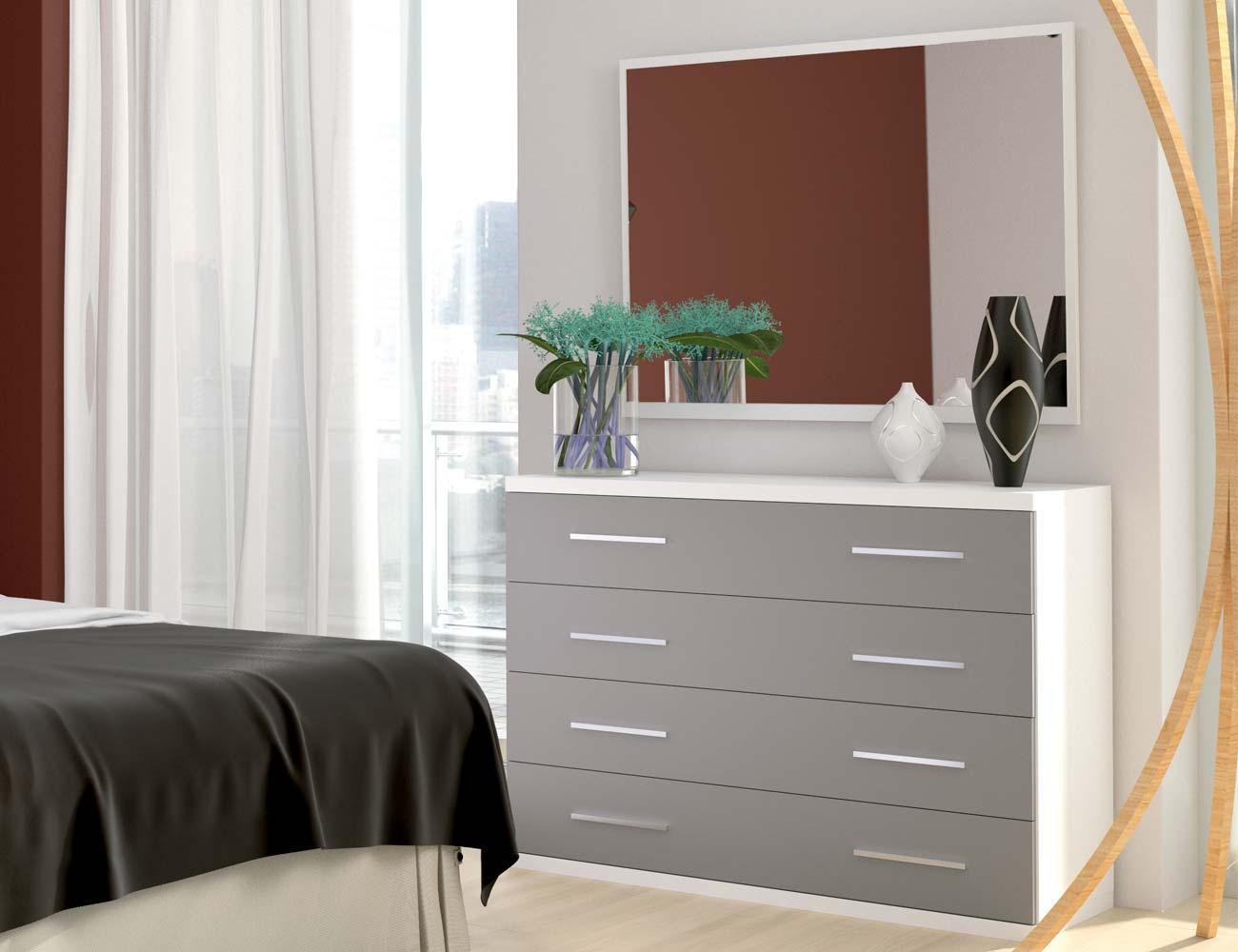 Comoda 4 cajones blanco gris