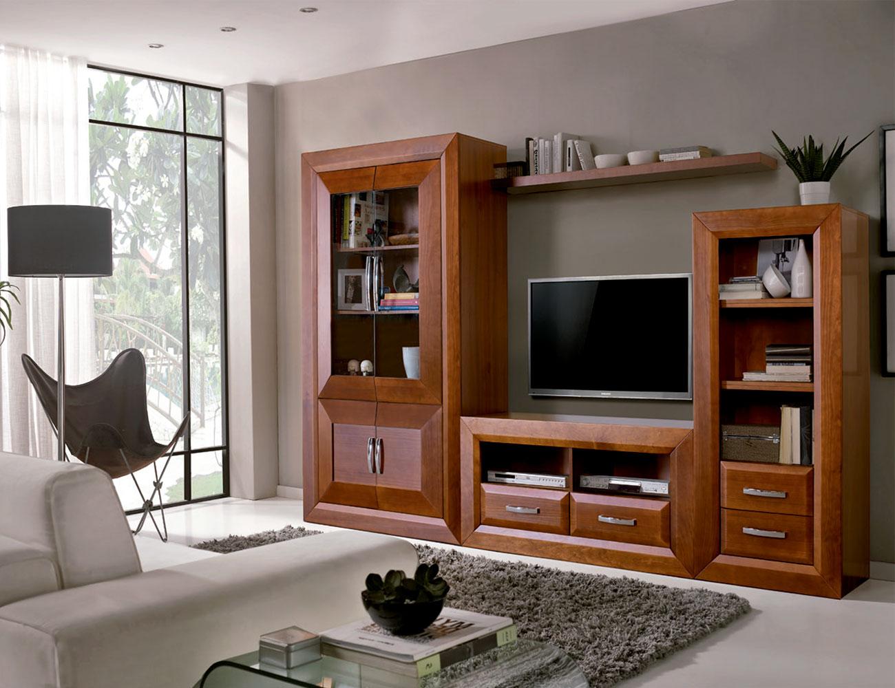 Mueble de sal n comedor con vitrina y librero 16548 - Factory del mueble sevilla ...