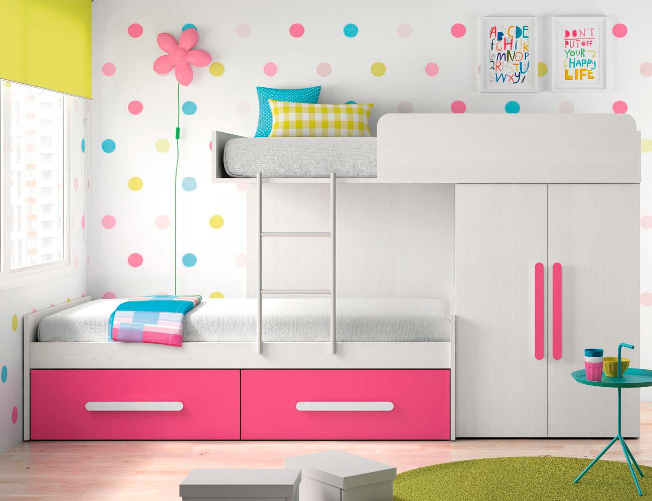 Composicion 305 dormitorio juvenil blanco fucsia1