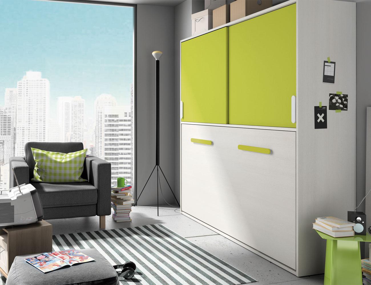 Composicion 307 1 dormitorio juvenil blanco kiwi