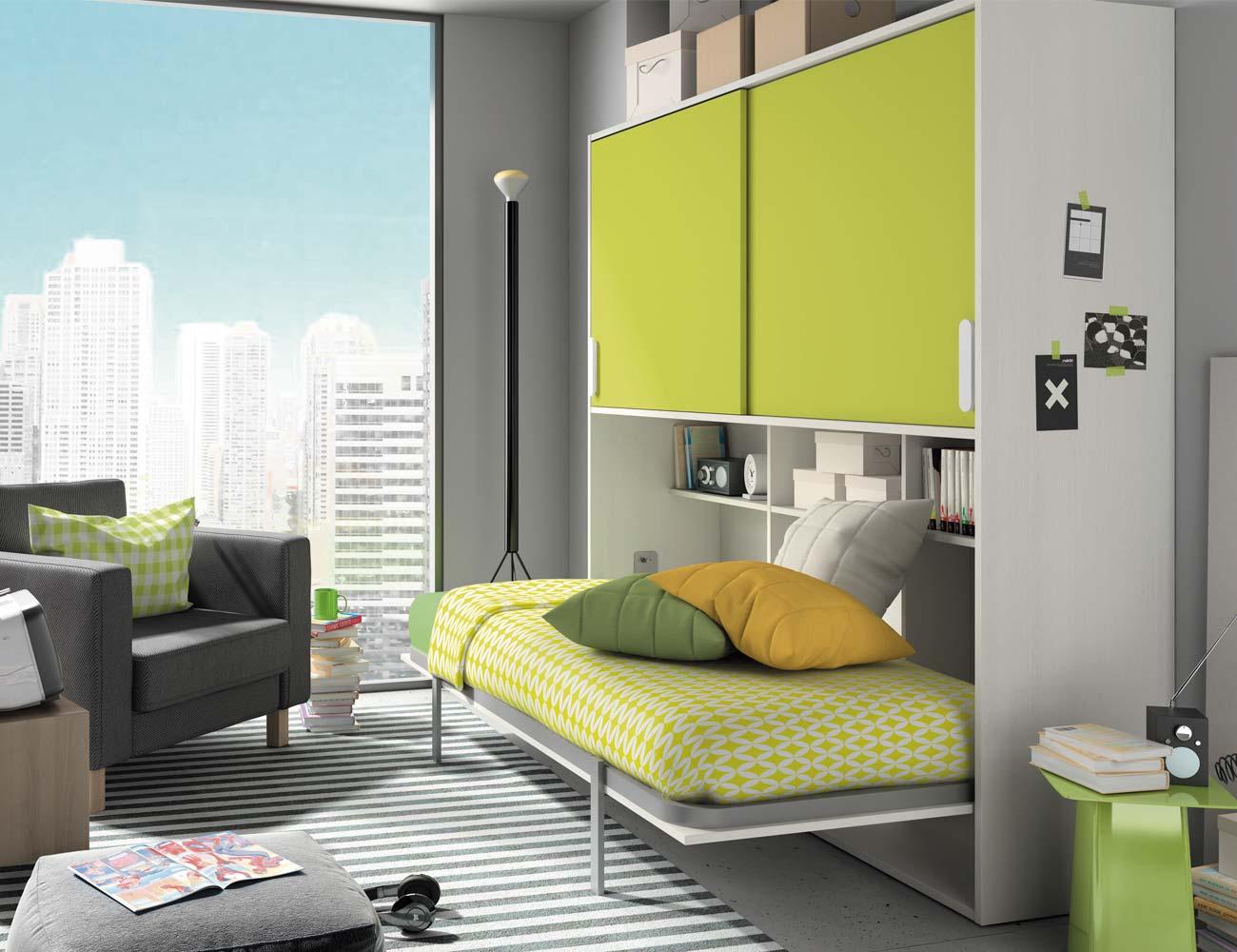 Composicion 307 dormitorio juvenil blanco kiwi