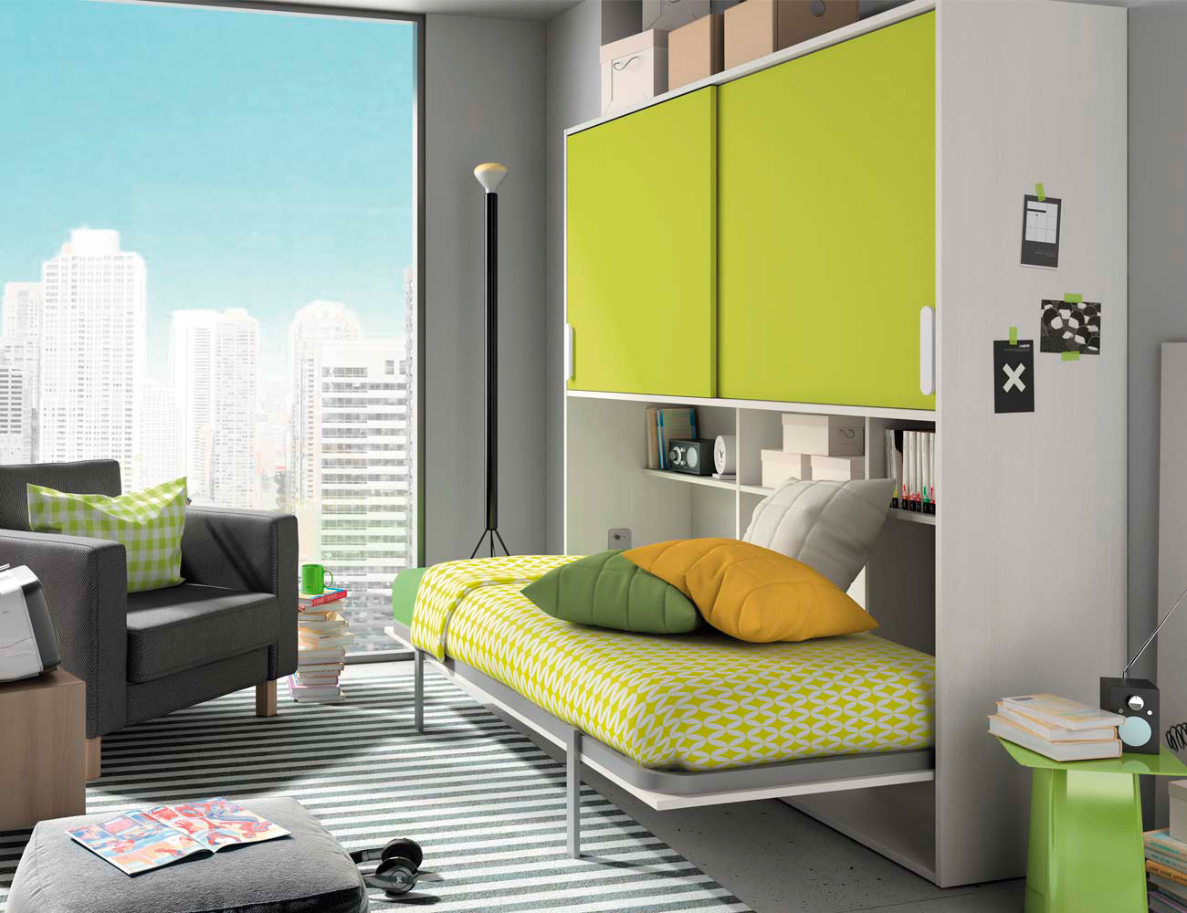 Composicion 307 dormitorio juvenil blanco kiwi2