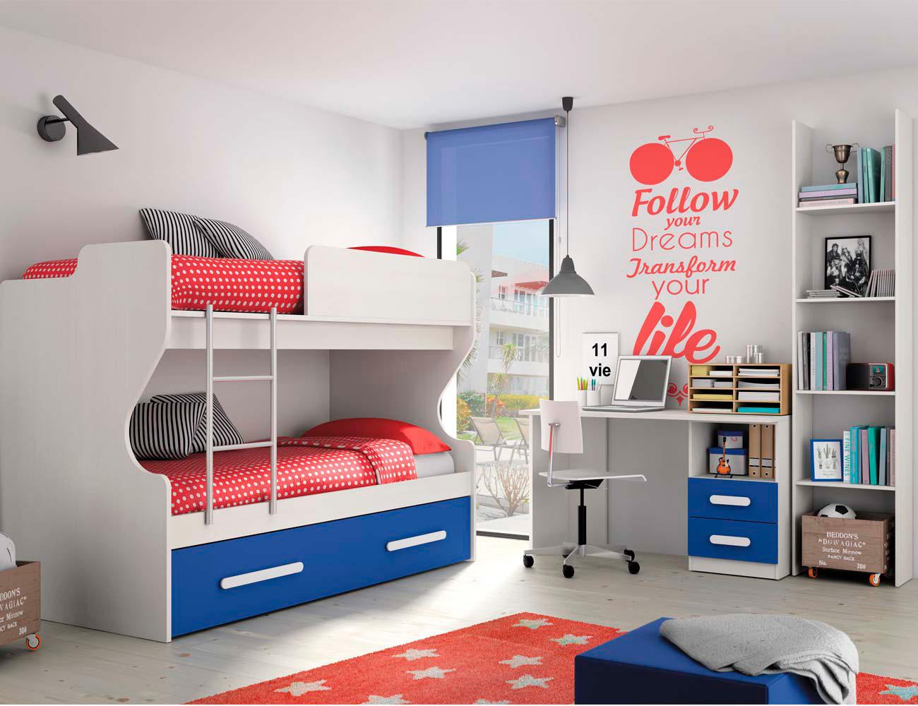 Composicion 310 dormitorio juvenil blanco azul marino