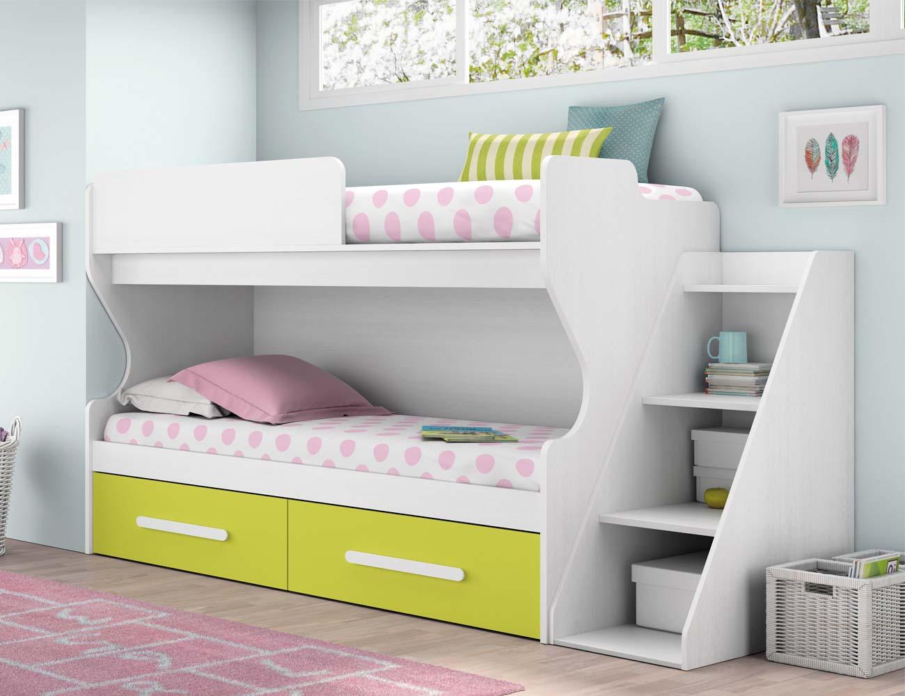 Composicion 311 dormitorio juvenil blanco kiwi