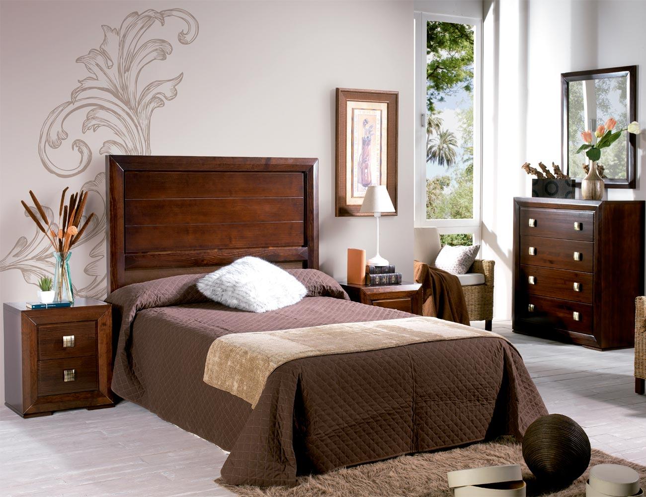 Composicion26 dormitorio matrimonio cabecero madera