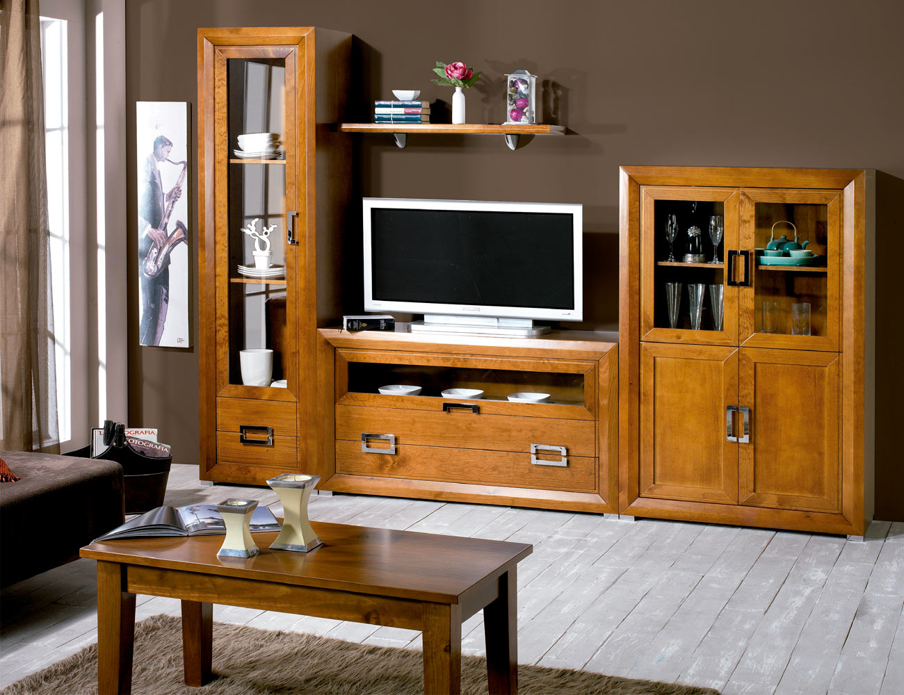 Composicion30 mueble salon comedor vitrinas nogal
