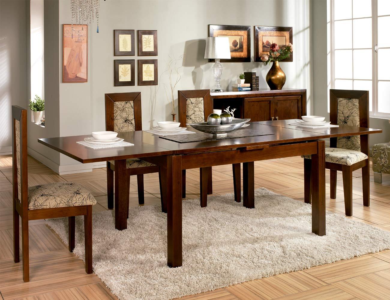 Composicion33 mesa salon comedor sillas tapizadas madera3