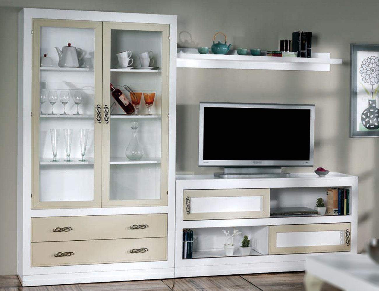 Composicion53 mueble salon comedor madera vitrina