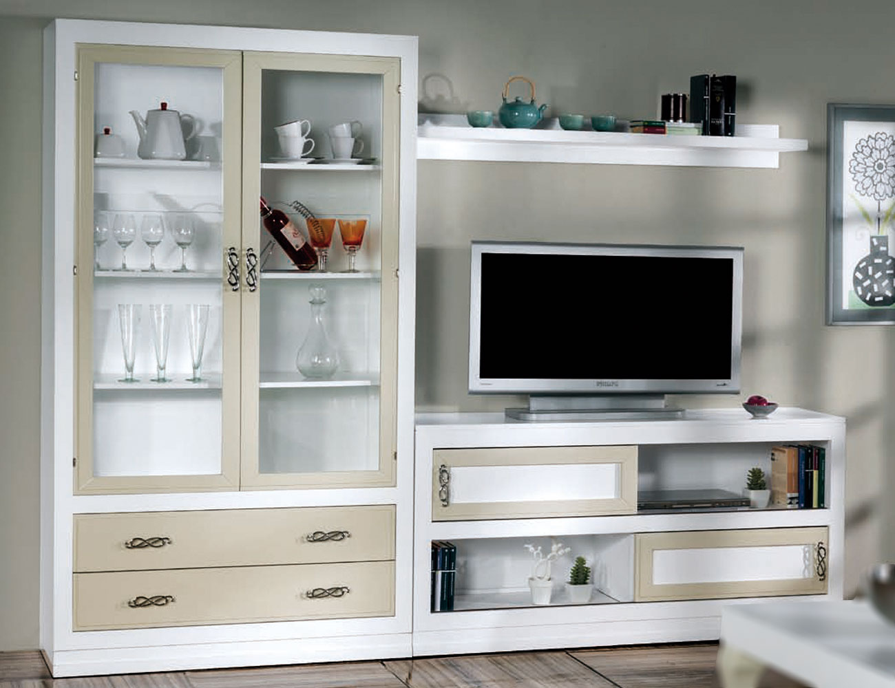 Composicion53 mueble salon comedor madera vitrina1