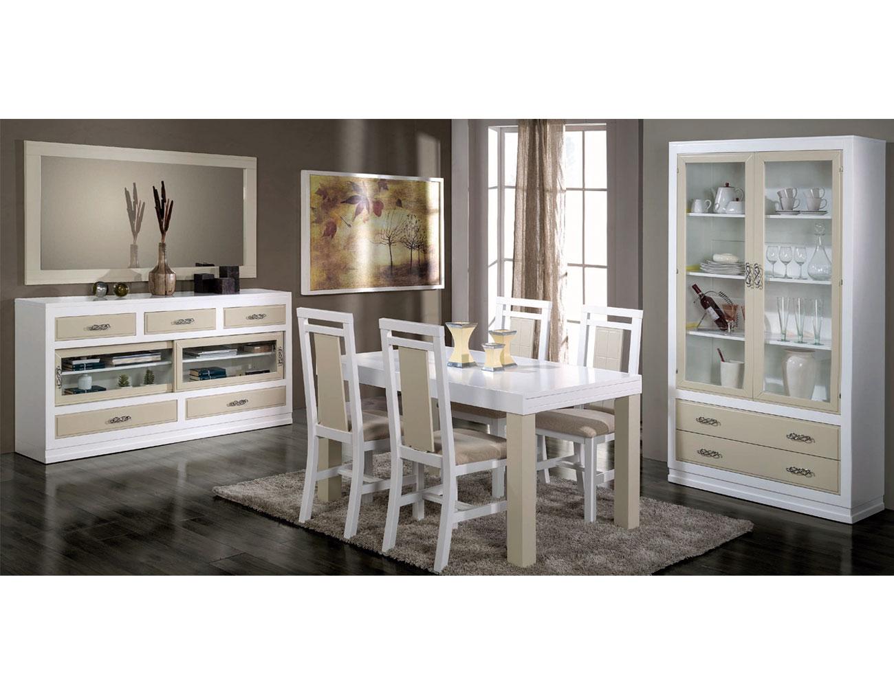 Composicion56 mueble salon comedor aparador vitrina mesa silla3