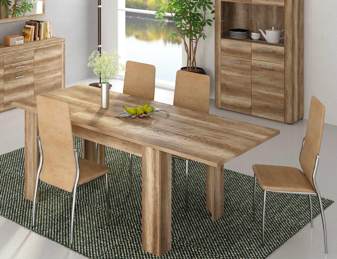 Conjunto mesa comedor extensible color cañon 4 sillas tapizada tela jarama beig