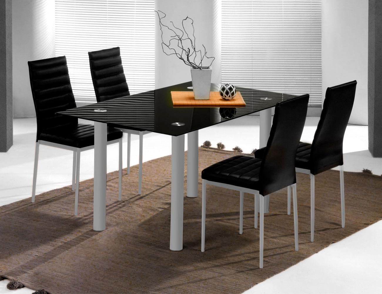 Conjunto mesa silla polipiel negro 3191