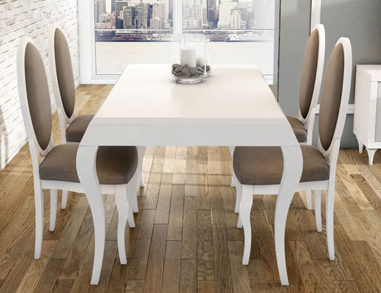 Conjunto mesa sillas ovaladas neoclasico