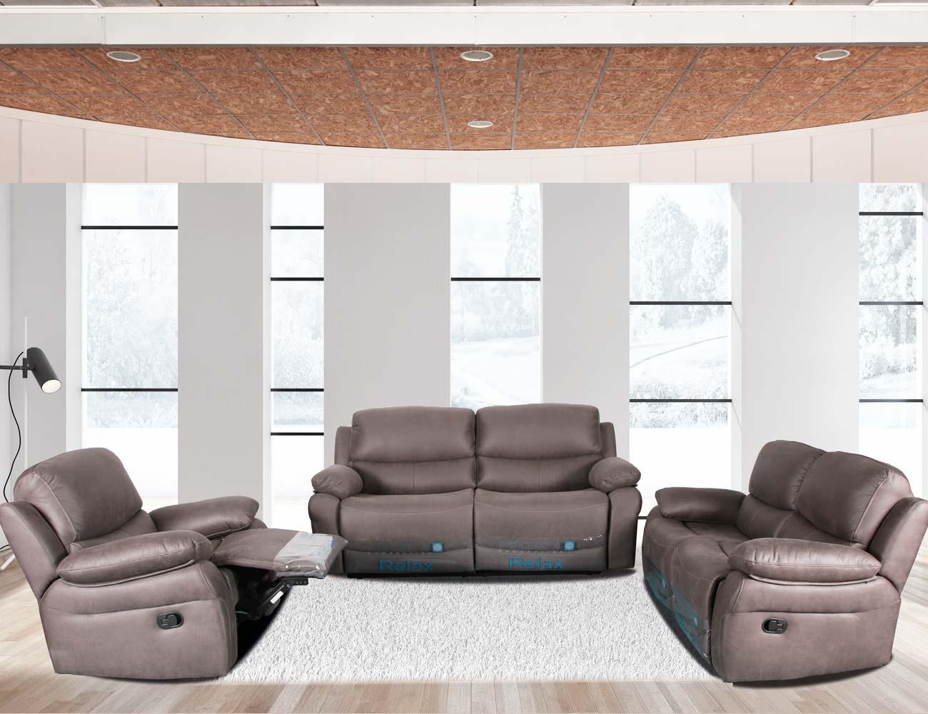 Conjunto sofa 3 2 1 plazas relax gris