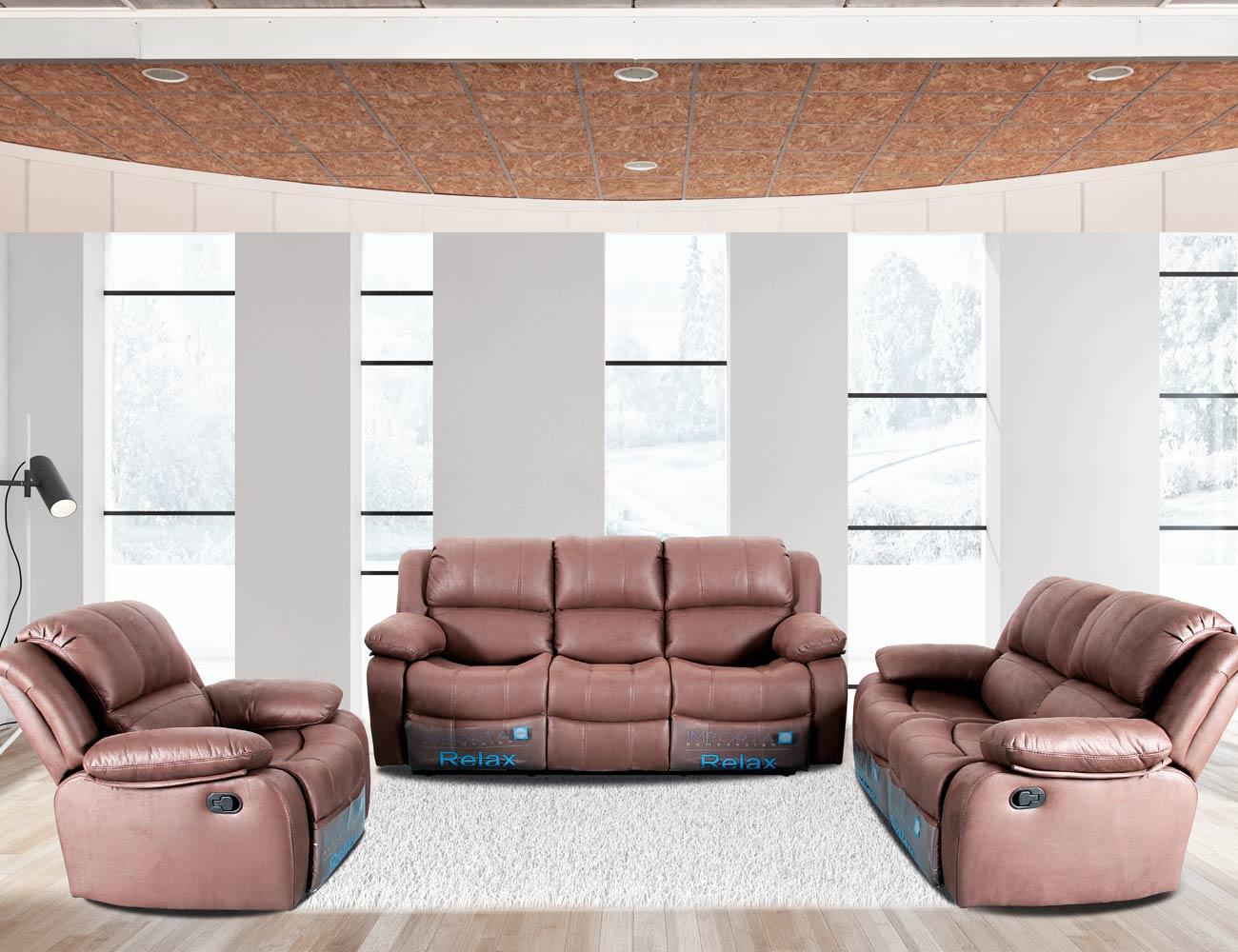 Conjunto sofa 3 2 1 plazas relax marron