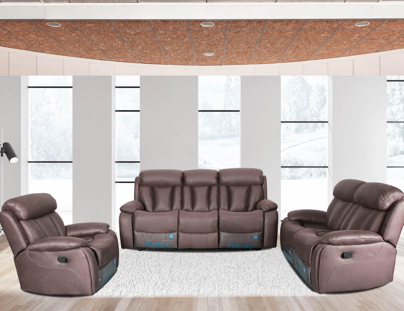 Conjunto sofa 3 2 1 plazas relax trufa