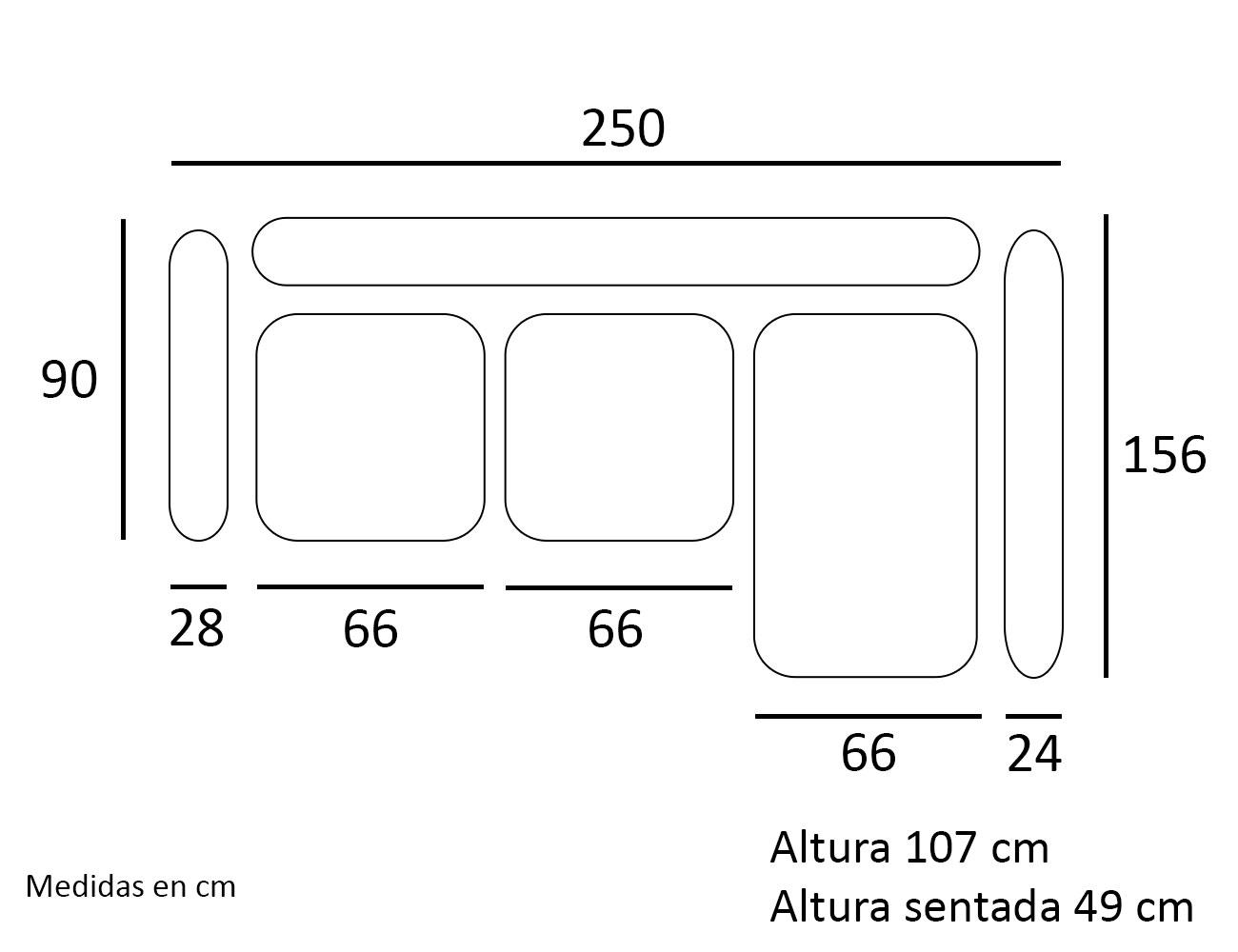 Croquis chaiselongue sofa derecho 250