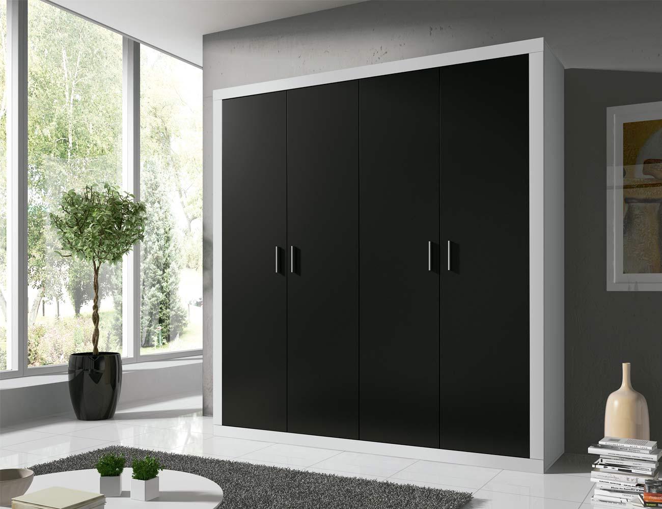 Detalle armario puertas abatibles blanco grafito