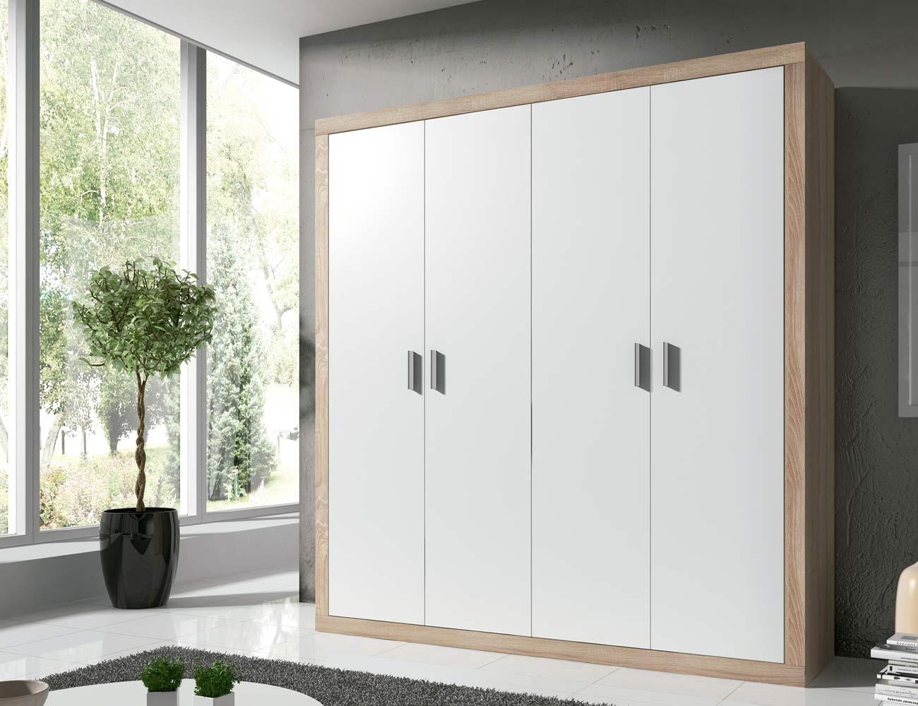 Armario moderno de 4 puertas abatibles en color blanco 6455 factory del mueble utrera Armarios empotrados puertas abatibles