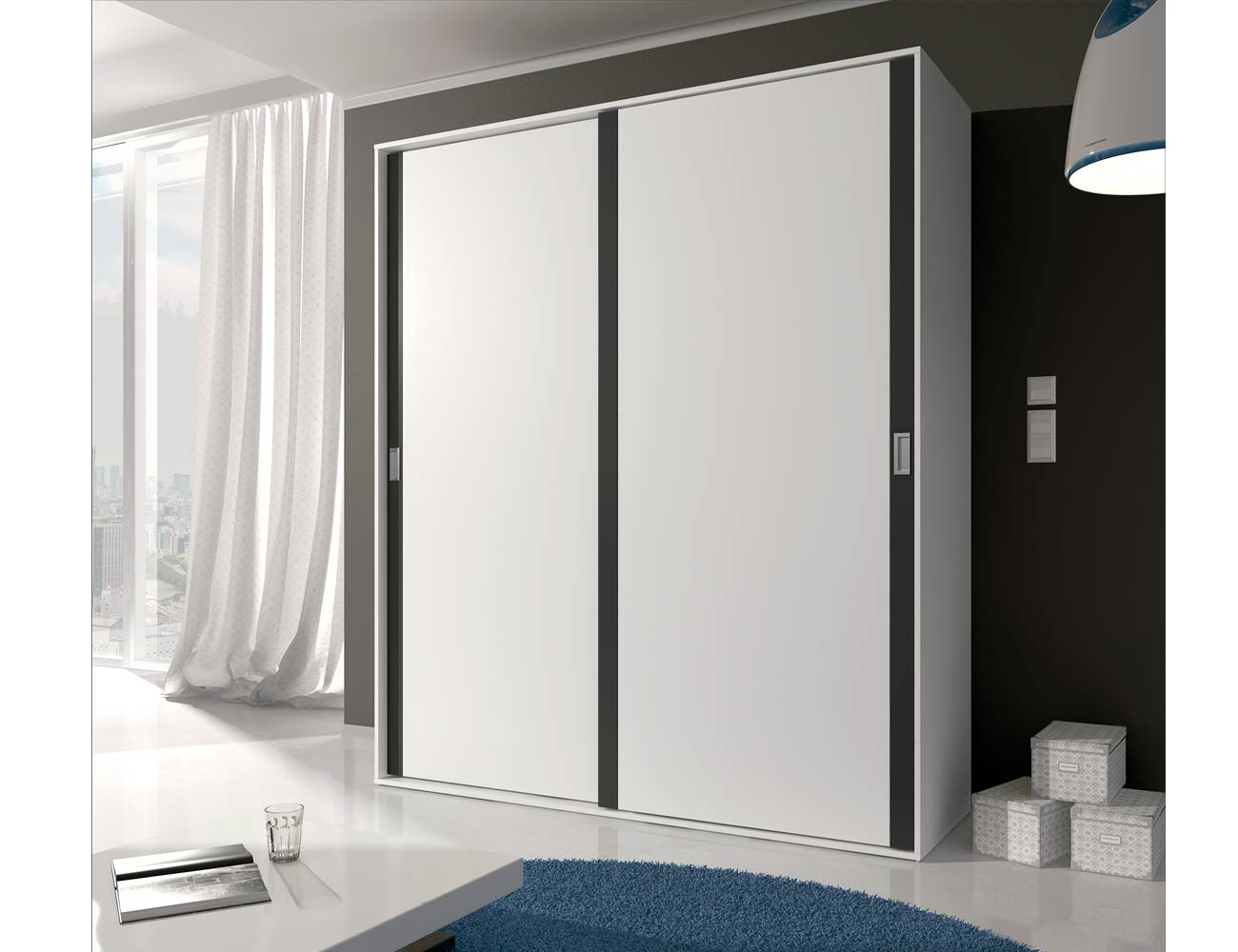 Detalle armario puertas correderas blanco grafito