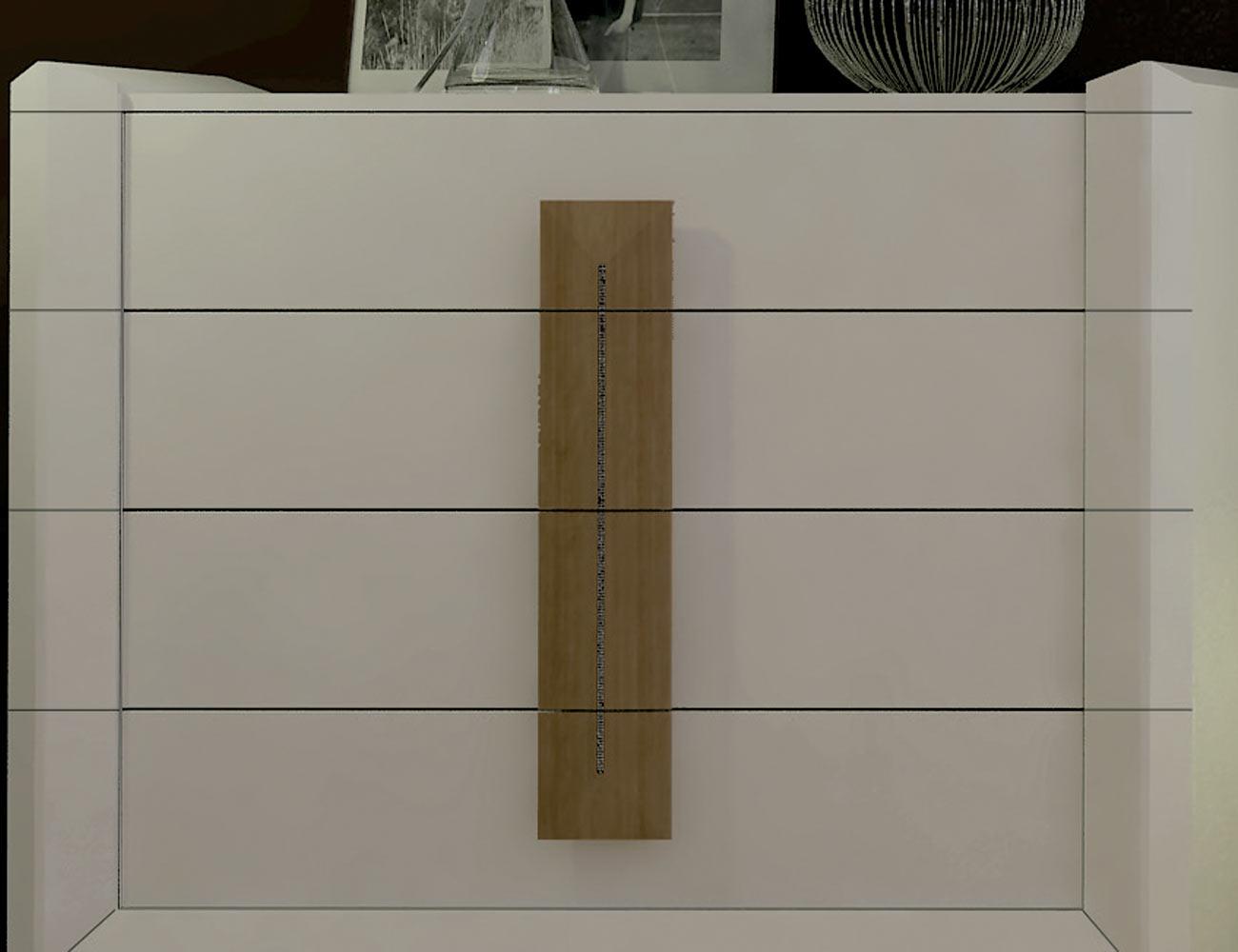Detalle mueble comodin blanco tirador madera