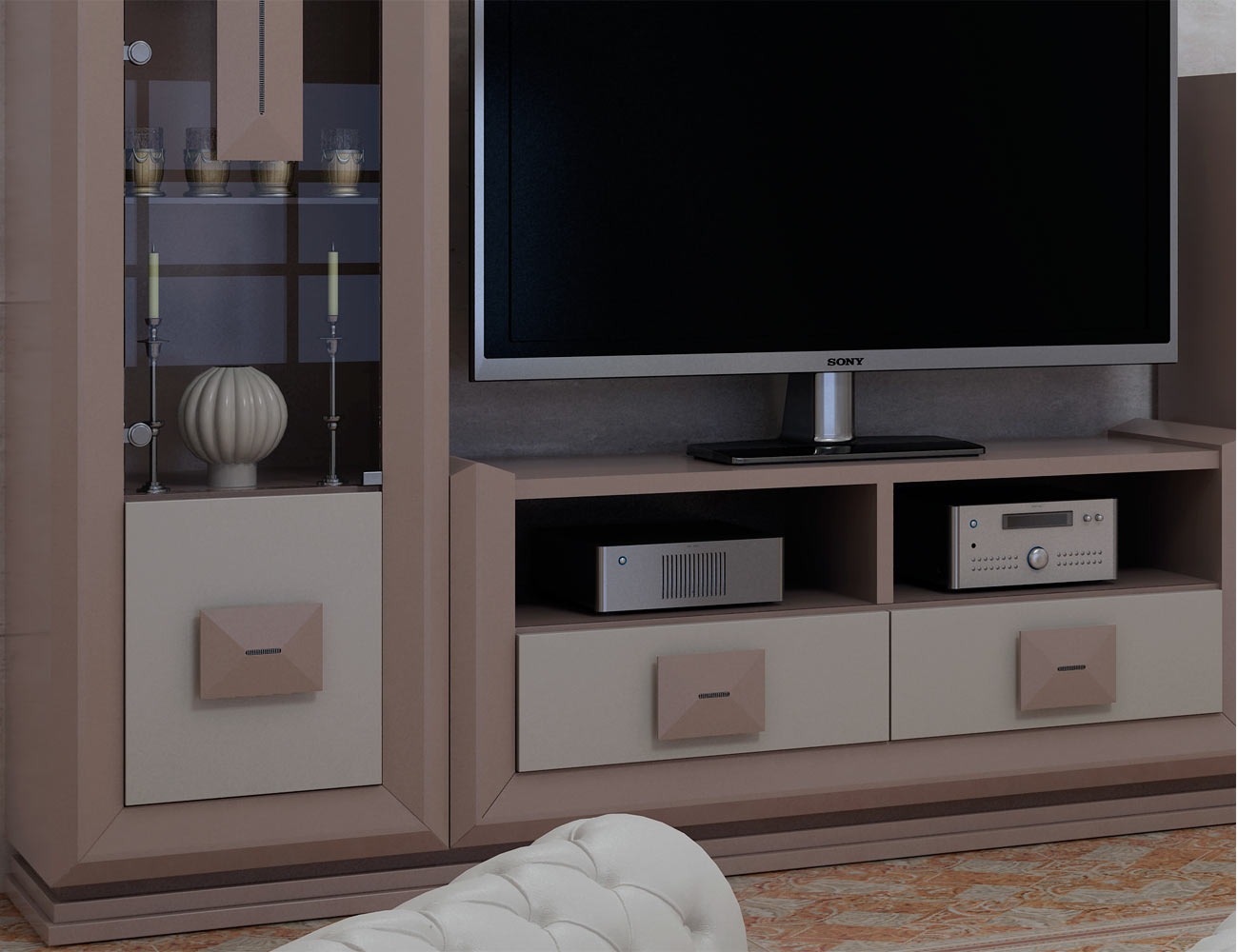 Detalle mueble salon comedor rosa blanco