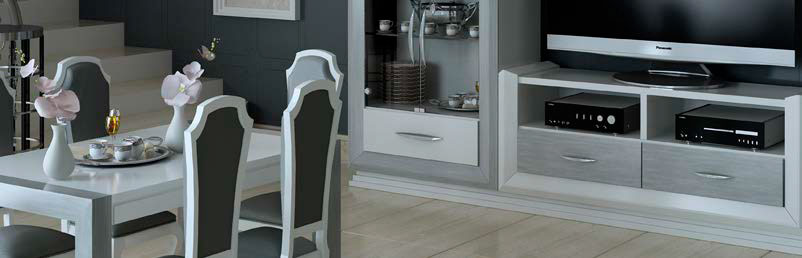 Detalles mueble salon mesa sillas gris blanco