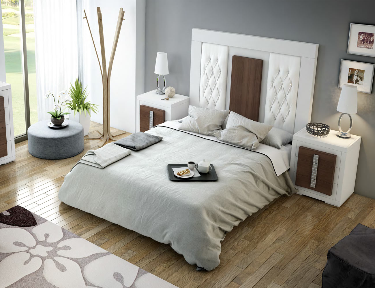 Dorm03 dormitorio matrimonio neoclasico blanco cubos nogal classic tapizado