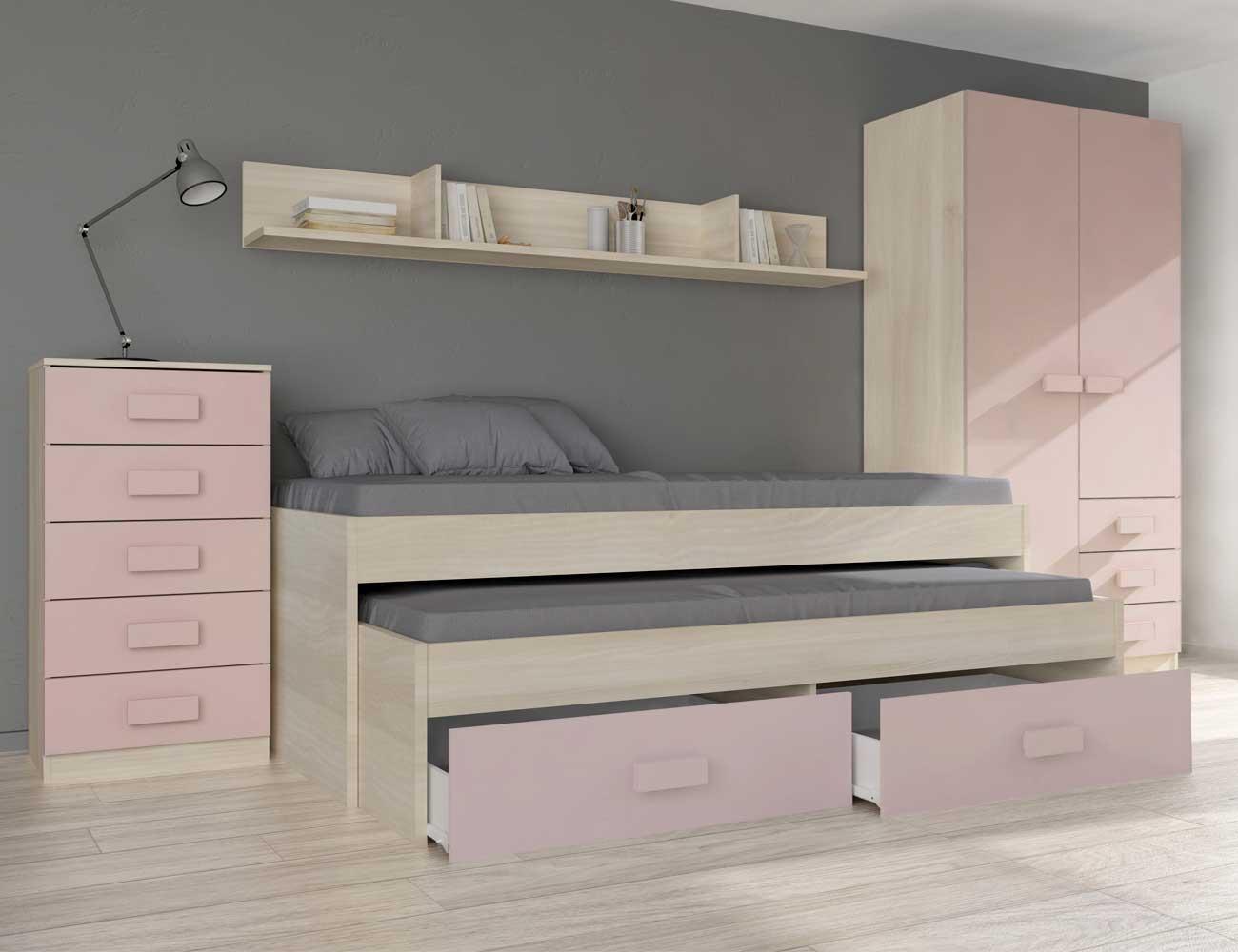 Dormitorio completo rosa1