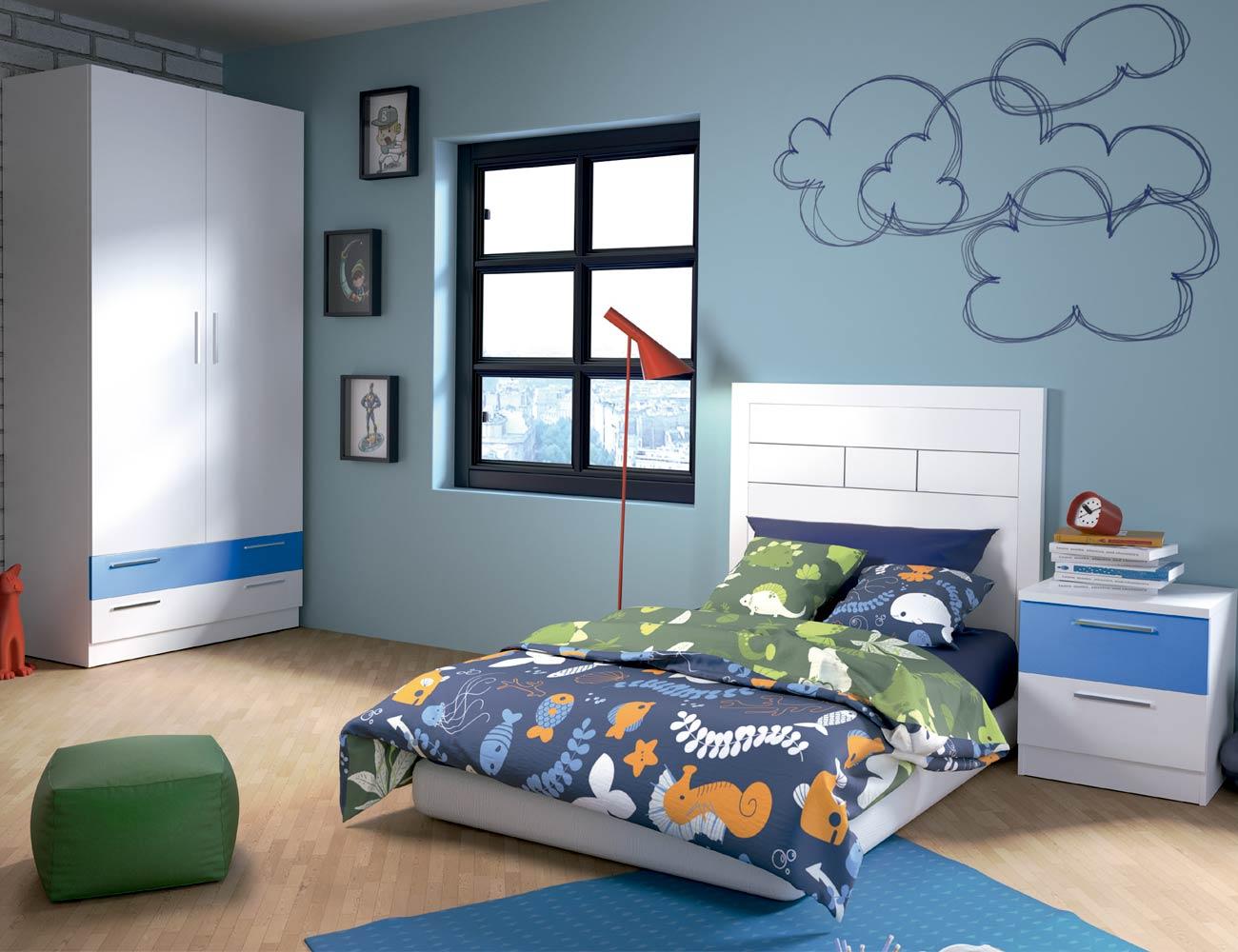 Dormitorio juvenil 56 blanco azul