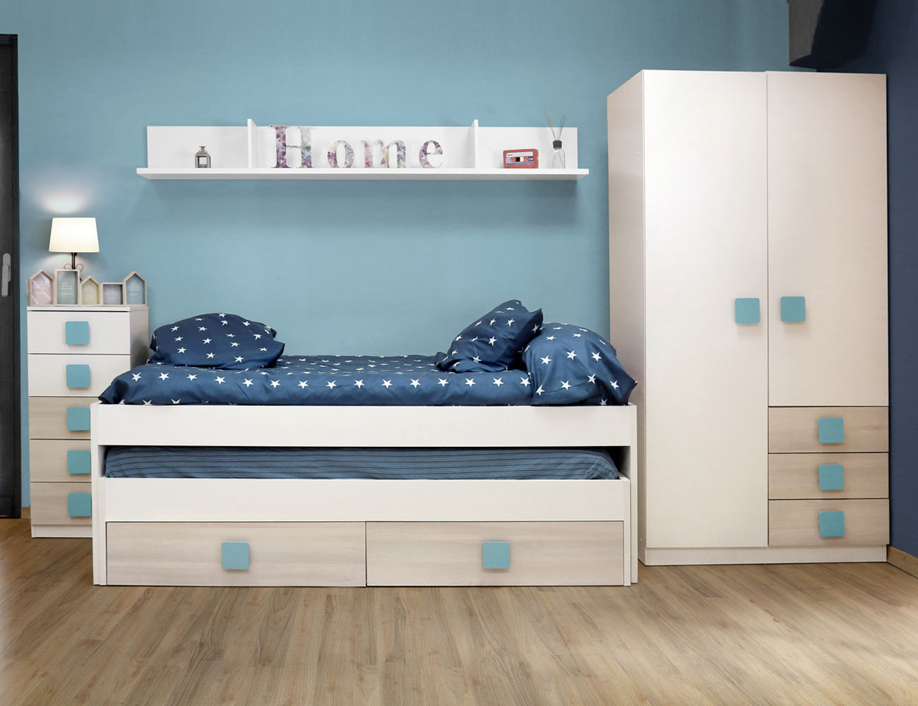 Dormitorio juvenil akazie azul
