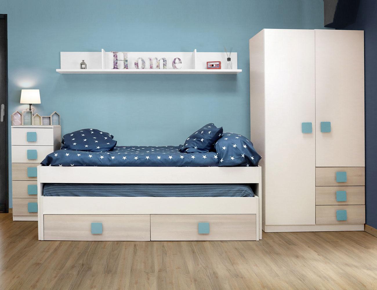 Dormitorio juvenil akazie azul7