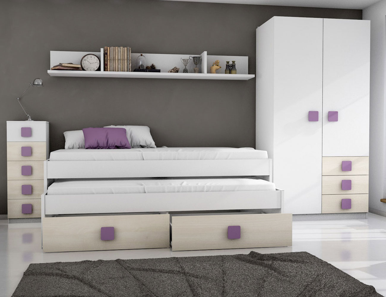 Dormitorio juvenil akazie malva6