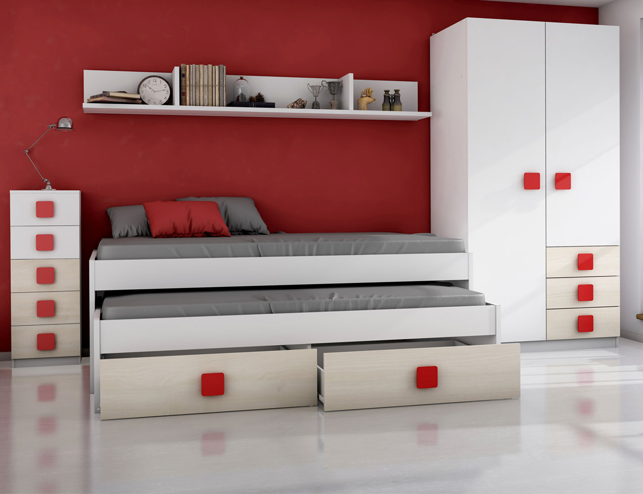 Dormitorio juvenil akazie rojo3