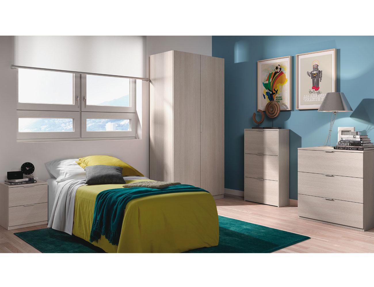 Dormitorio juvenil armario roble