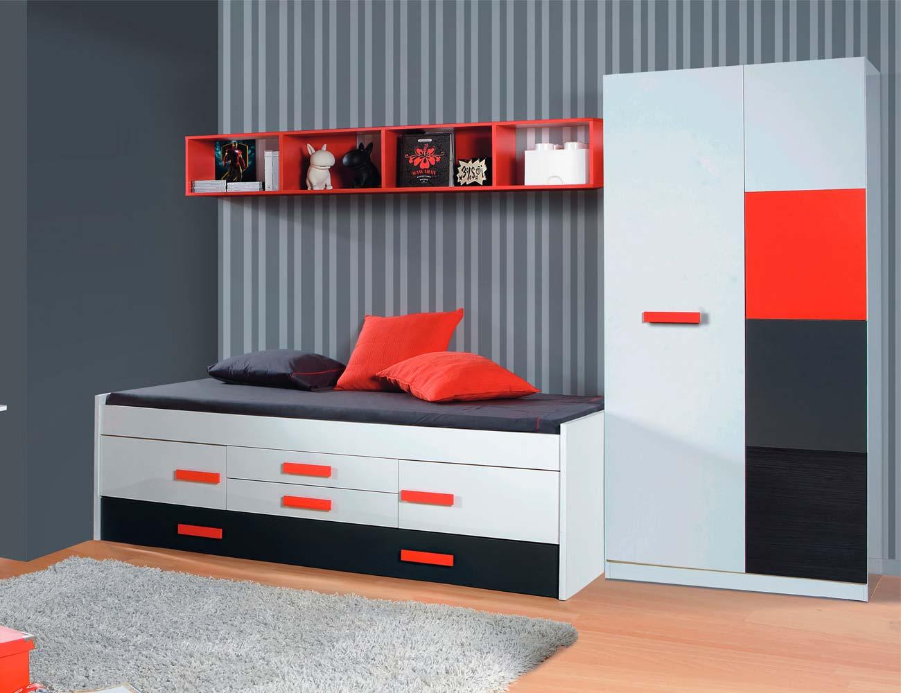 Dormitorio juvenil blanco rojo armario