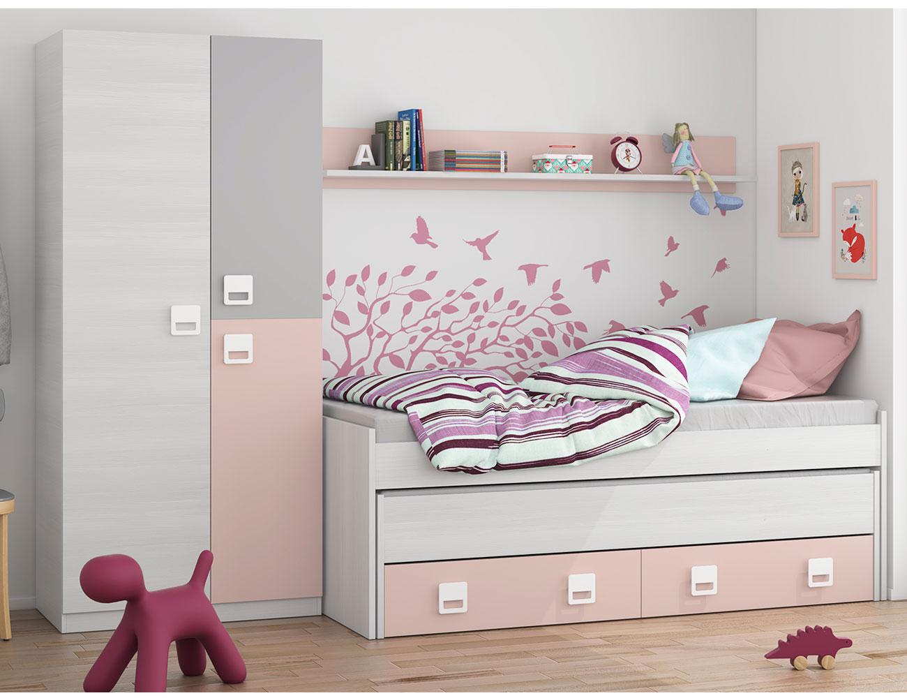 Dormitorio juvenil blanco rosa barato1