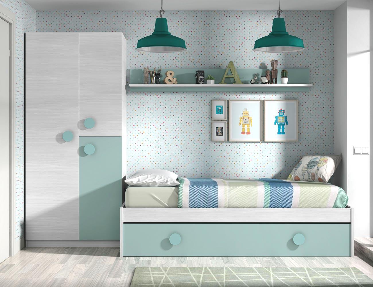 Dormitorio juvenil cama nido armario 11